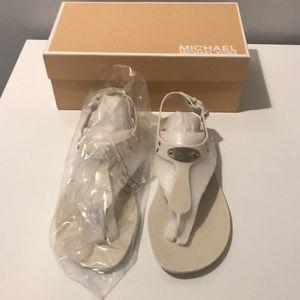 NIB Michael Kors MK Plate Jelly Sandals, Vanilla